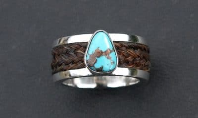 Horse hair jewelry: turquoise ring