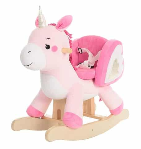 Kids Spring Ride On Pony Riding Toys Playroom Horse Neigh Sounds Plush Pink