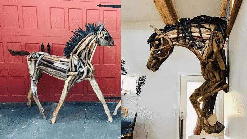 Horse driftwood sculptures