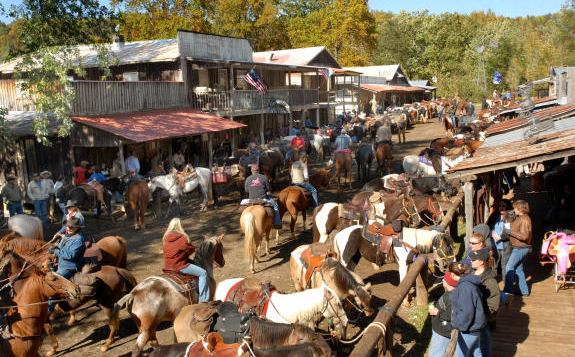 A busy day at Love Valley with horses clogging the streets
