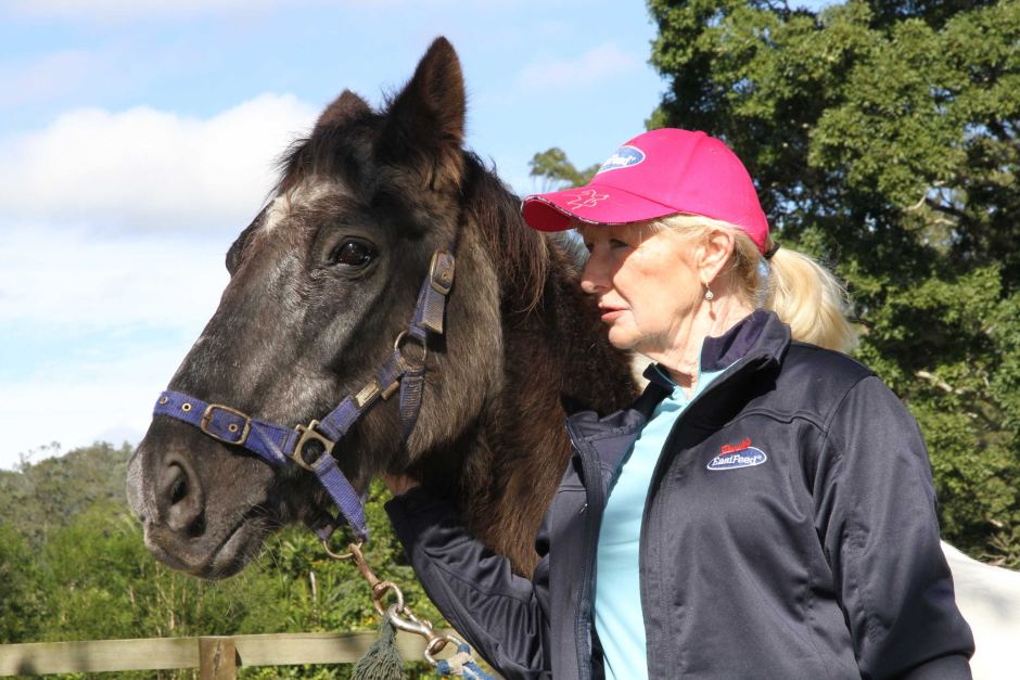 Calypso with his carer, Jenny Dyson-Holland.