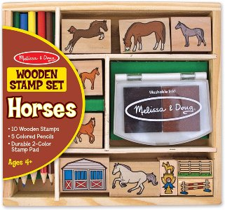 Melissa and Doug Wooden horse Stamp set for boys and girls