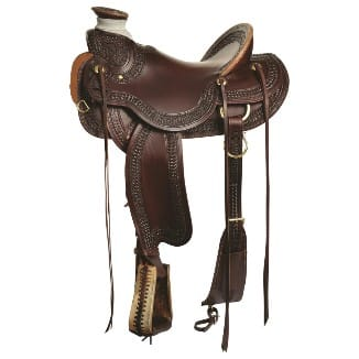 Brown leather ranch saddle
