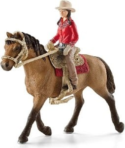 Cowgirl and horse riding figure