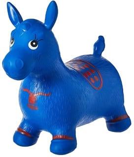 Blue inflatable horse hopper