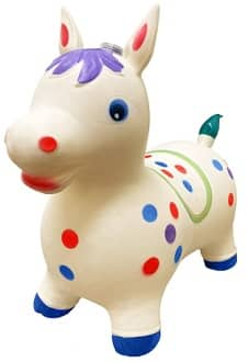 Cute polka dotted bouncy horse toy