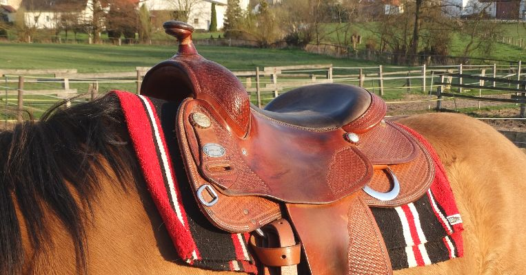 Comfortable western saddle on a horse