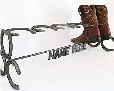 Personalized cowboy boot rack