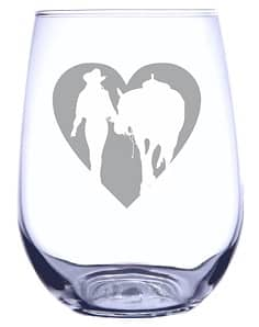 Girl Horse Heart Silhouette Engraved Wine Glass