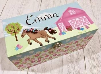 Personalized horse Jewelry Box gift idea for girls