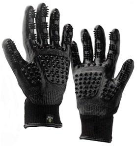 Black plastic horse grooming gloves