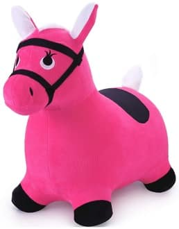 Outdoors ride on bouncy horse toy for girls