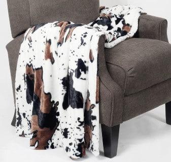 Western Faux Cowhide Throw Blanket