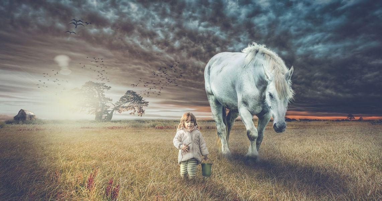 Girl walking with her horse spirit animal