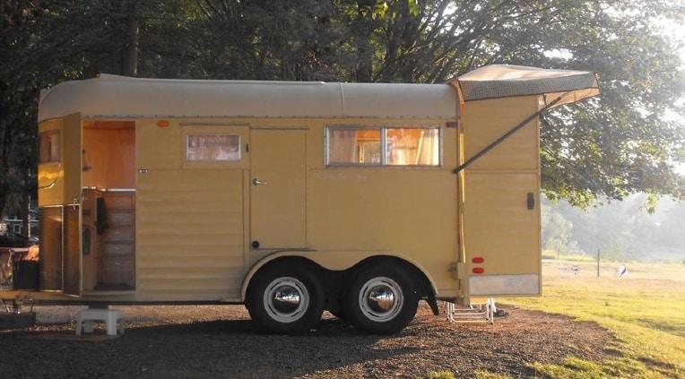 Horse trailer converted to a camper van