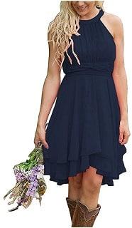 Women's Knee Length Country Bridesmaid Dress