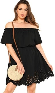 Women's plus size off the shoulder black country party dress