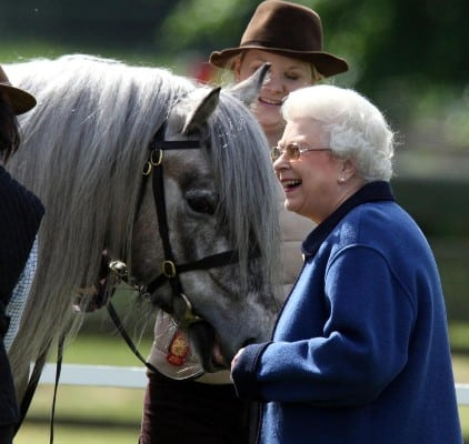 Queen Elizabeth stroking and smiling at a horse