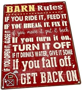 Barn Rules Metal Sign