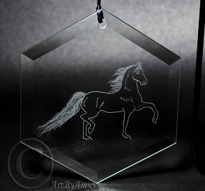 Horse engraved glass