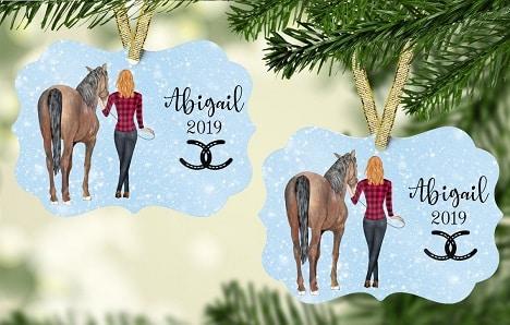 Custom horse and and girl Christmas tree tag