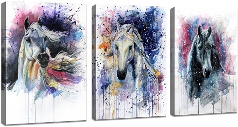 Horse watercolor painted wall canvas