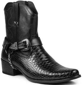 Men's Belt Buckle Chain Strap Western Cowboy Boots