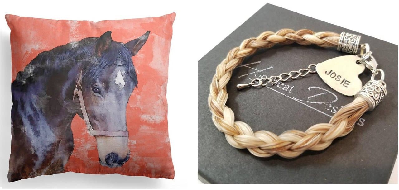 Personalized horse gifts pillow and custom horsehair bracelet