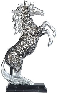 Silver stoned and engraved rearing horse statue