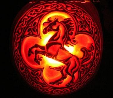 Celtic horse pumpkin carving