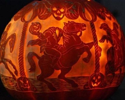 Stencil carved headless horseman pumpkin