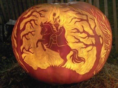 Headless horseman pumpkin carving