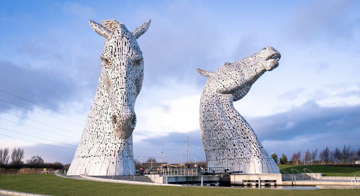 The Kelpies sculptures artwork in Falkirk, Scotland