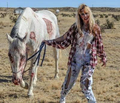 Zombie horse and rider Halloween dress-up