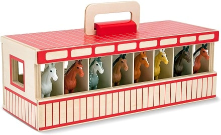 Horse stable carrying case play set for kids who love horses