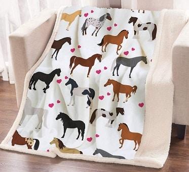 Horse throw blanket gift for girls