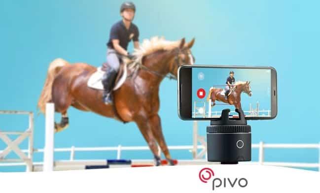 Pivo camera recording a horse riding