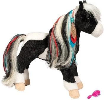 Pretty pinto pony plush horse toy for girls