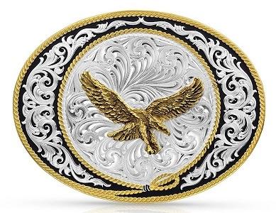 Silver cowboy belt buckle with a golden Bald Eagle - Western gift idea