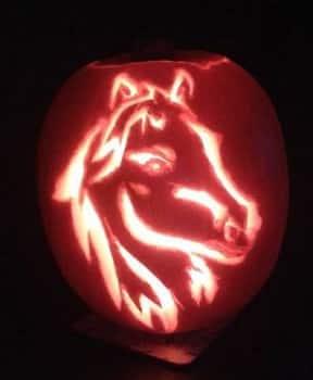 Horse head pumpkin carving