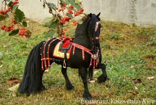 Black plush horse creation