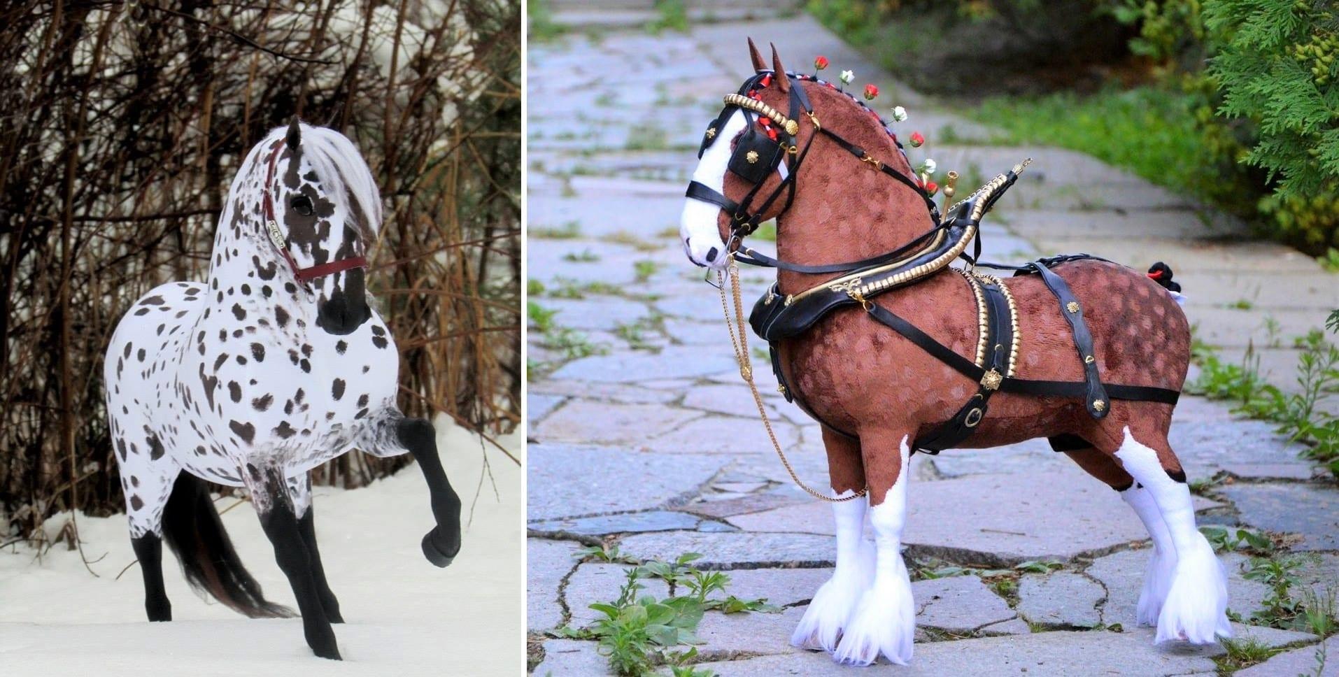 Custom plush horses created by Ekaterina Yakovenko
