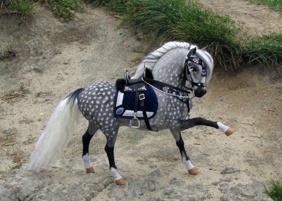 Dapple grey plush horse