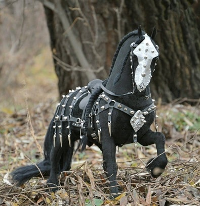 War horse in ceremonial armour plush horse toy