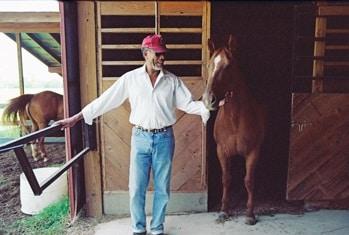 Morgan Freeman with his pet horse