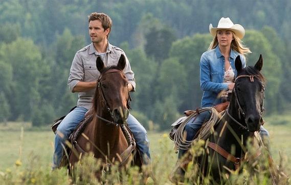 Ty Borden from Heartland riding a horse
