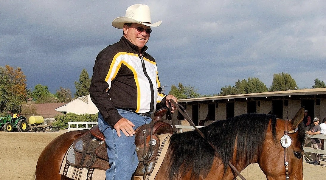 William Shatner horse lover riding a horse