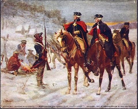 George Washington riding his horse called Nelson