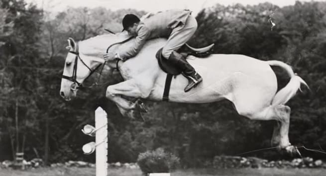 Snowman the showjumping horse jumping a large jump