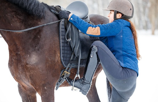 Young girl mounting on her bay horse for riding. Approaching horse